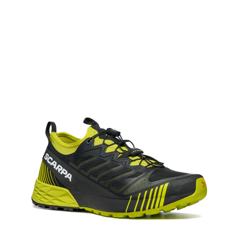 lime coloured scarpa trail running shoe